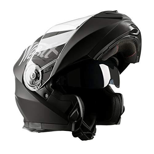 Leopard LEO-888/DVS Color Negro Mate Casco Modular de Motocicleta con Visera Doble Talla: S. con Visor Solar